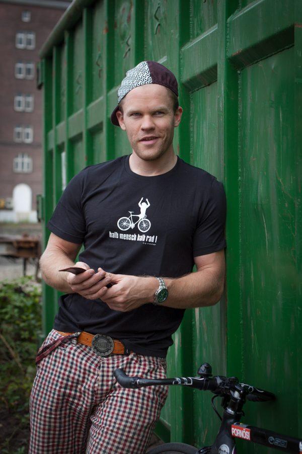 Arthurkopf T-Shirt Siebdruck halb Mensch halb Rad Fahrrad