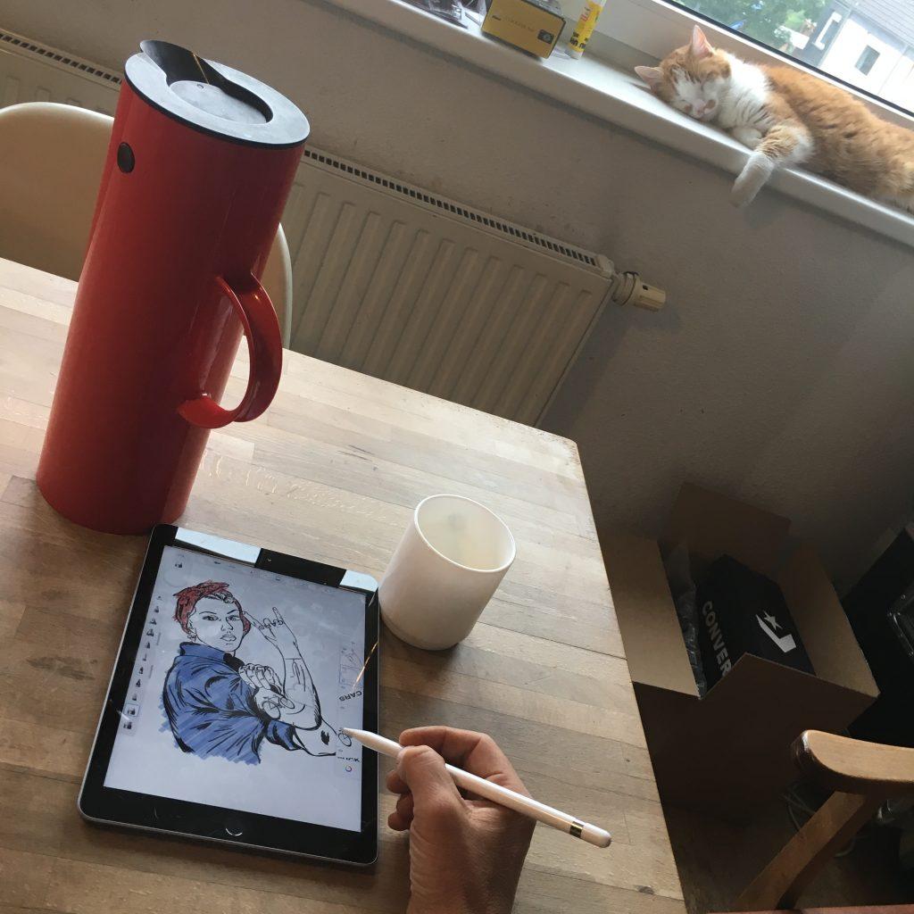 Arthurkopf Skizze Apple iPad Pencil Sketch Katze Kaffee thermoskanne stellen isolierkanne