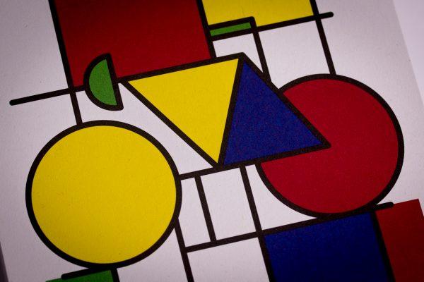 Postkarte Fahrrad Grafik im Stil von Piet Mondrian