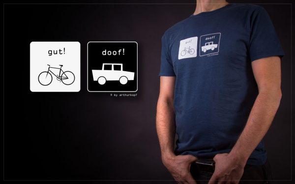 blaues t-schirt mit pro fahrrad siebdruck gefertigt von arthurkopf
