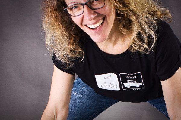 Siebdruck Fahrradshirt Lachende Frau